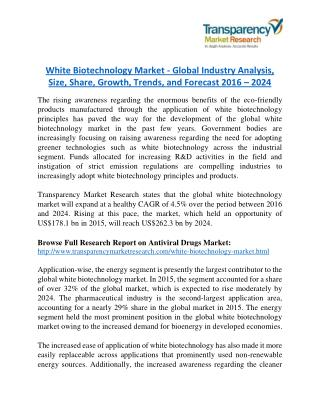 White Biotechnology Market - Global Industry Analysis, Size, Share, Growth, Trends, and Forecast 2016 – 2024