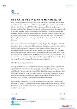 China PTZ IP Camera Manufacturer| China HD IP Camera Manufacturer