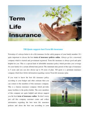 Term of insurance online