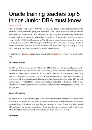 Oracle training teaches top 5 things Junior DBA must know