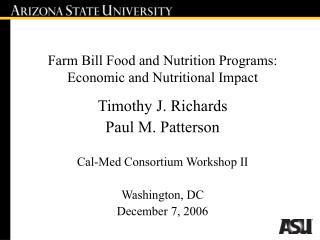 Farm Bill Food and Nutrition Programs: Economic and Nutritional Impact