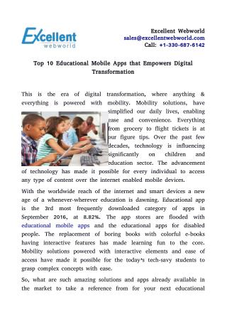 Top 10 Educational Mobile Apps that Empowers Digital Transformation