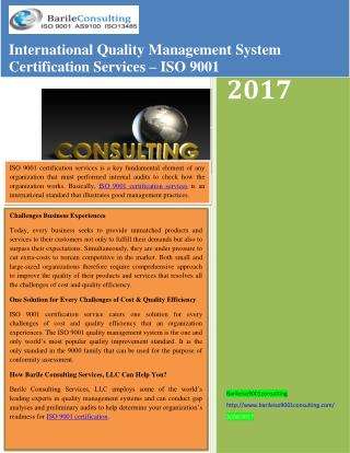 International Quality Management System Certification Services – ISO 9001