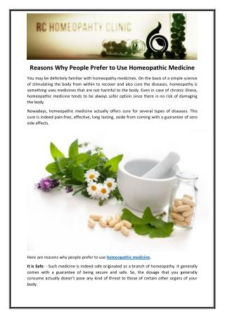 Reasons Why People Prefer to Use Homeopathic Medicine