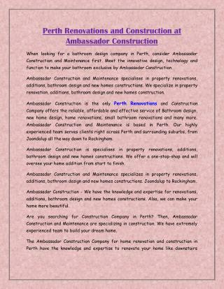 Perth Renovations and Construction at AmbassadorConstruction