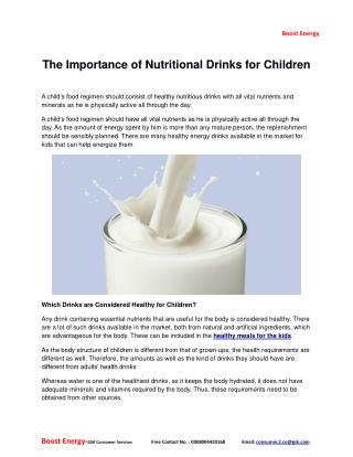 The Importance of Nutritional Drinks for Children