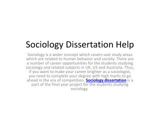 Why students seek Sociology help for dissertation?