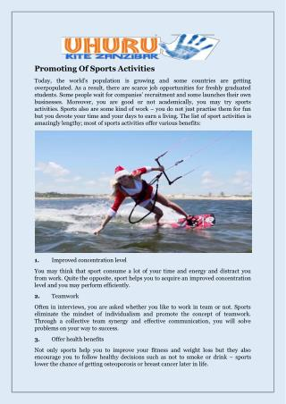 Promoting Of Sports Activities