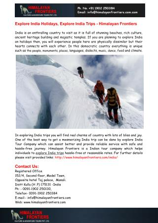 Explore India Holidays, Explore India Trips - Himalayan Frontiers