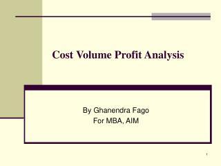 cost volume profit analysis mba finance