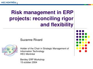 Risk management in ERP projects: reconciling rigor and flexibility
