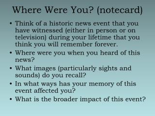 Where Were You notecard