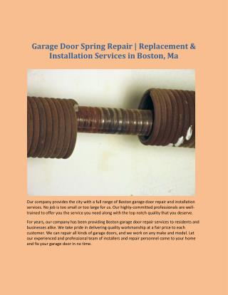 Garage Door Spring Repair | Replacement & Installation Services in Boston, Ma