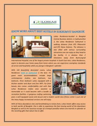 KNOW MORE ABOUT BEST HOTELS IN SUKHUMVIT BANGKOK