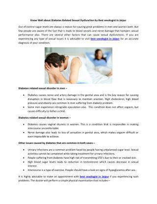 Know Well about Diabetes Related Sexual Dysfunction by Best sexologist In Jaipur