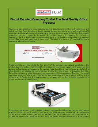 Find A Reputed Company To Get The Best Quality Office Products