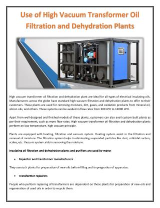 Use of High Vacuum Transformer Oil Filtration and Dehydration Plants