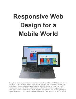 Responsive Web Design for a Mobile World