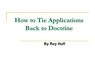 How to Tie Applications Back to Doctrine