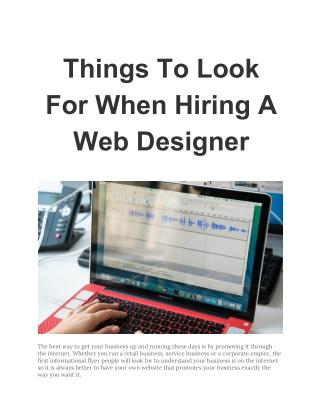 Things To Look For When Hiring A Web Designer