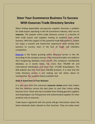 Steer Your Ecommerce Business To Success With Esources Trade Directory Service