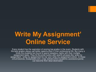 Write My Assignment for Me Online Service