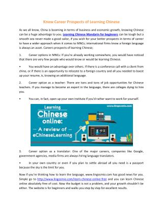 Know Career Prospects of Learning Chinese