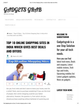 TOP 10 ONLINE SHOPPING SITES IN INDIA WHICH GIVES BEST DEALS AND OFFERS