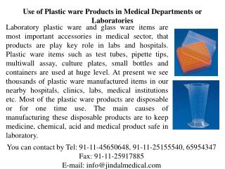 Use of Plastic ware Products in Medical Departments or Labor
