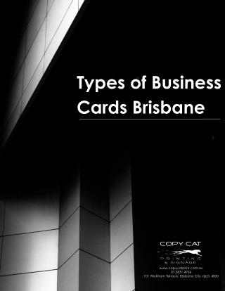 Different Kinds Of Business Cards Brisbane