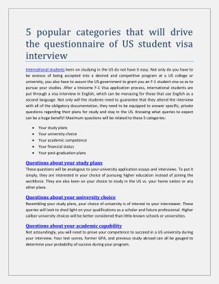 5 popular categories that will drive the questionnaire of US student visa interview