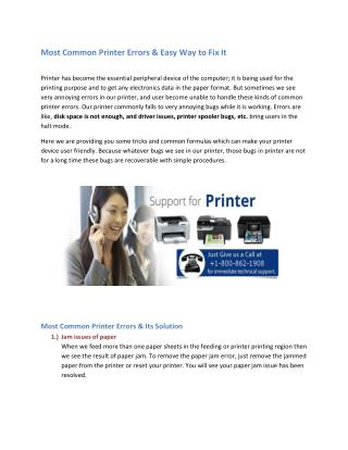 Most Common Printer Errors & Easy Way to Fix It