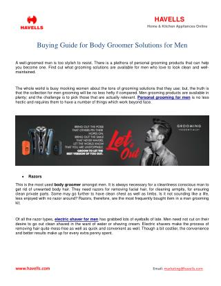 Buying Guide for Body Groomer Solutions for Men