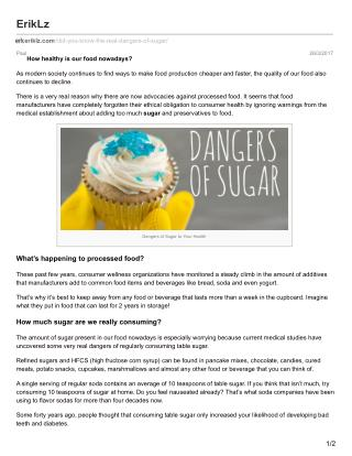 Did you know the real dangers of sugar