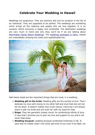 Celebrate Your Wedding in Hawaii
