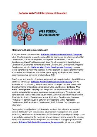 Software Web Portal | Software Web Portal Development Company | Software Web Portal Development Company USA | Software W