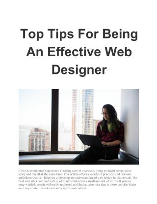 Top Tips For Being An Effective Web Designer
