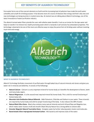 Key Benefits Of Alkarich Technology - BlueBird Pure