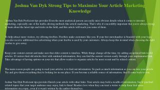 Joshua Van Dyk Strong Tips to Maximize Your Article Marketing Knowledge