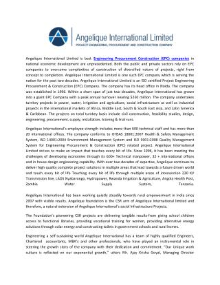 Angelique International Limited is best Engineering Procurement Construction (EPC) companies in national economic develo
