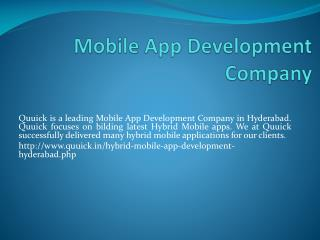 Mobile App Development Companies in Hyderabad, Quuick