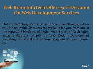 Web Brain Infotech Offers 40% Discount On Web Development Services