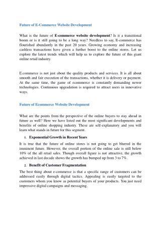 Future of E-Commerce Website Development