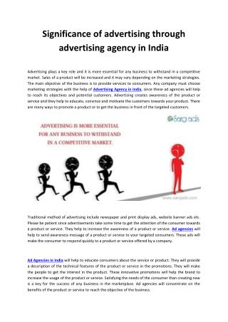 Significance of advertising through advertising agency in India