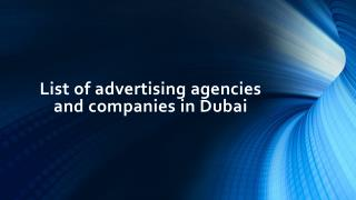 List of advertising agencies and companies in Dubai