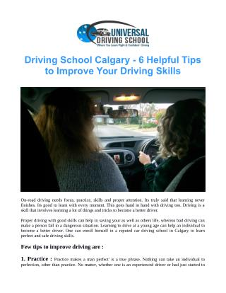 Driving School Calgary - 6 Helpful Tips to Improve Your Driving Skills