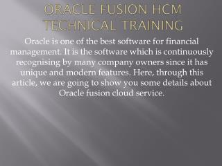 Oracle Fusion HCM Technical Training
