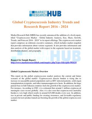 Global Cryptococcosis Industry Trends and Research Report 2016 – 2024