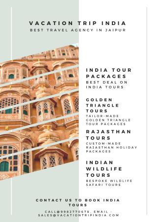 Book India Tour packages online from Vacation Trip India