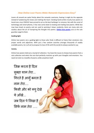 How Online Love Poems Make Romantic Expressions Easy?